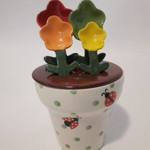 Pier 1 Flower Pot Mesuring Cup and Spoon Set CUTE